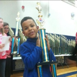 Langston Crooms with his super trophy